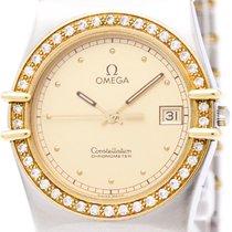 Omega Polished Omega Constellation Diamond 18k Gold Steel Mens...