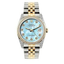 Rolex Datejust Midsize 31mm Blue Mother Of Pearl Dial Gold And...