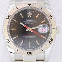 롤렉스 (Rolex) Datejust Turnograph Weißgoldlünette black dial red...