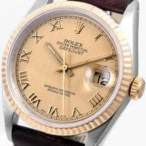 Rolex SS/18K Datejust 36mm Champagne Roman on Brown Horween Strap