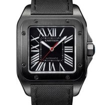 Cartier WSSA0006 Santos 100 Carbon Watch in ADLC Coated Steel...