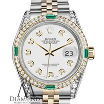 Rolex Stainless Steel 18k Gold 36mm Datejust White Certifed...