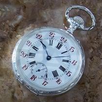 Pocket watch 61mm Sterling Silver 925 Swiss Made Manual Wind...