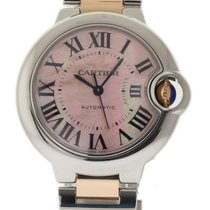 Cartier Ballon Bleu 33mm Steel Pink Gold MOP W6920070 Box/P...