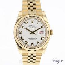 Rolex Datejust 36 Yellow Gold White Roman