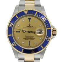 Rolex 16613 Submariner Champagne Serti Dial Two Tone Watch