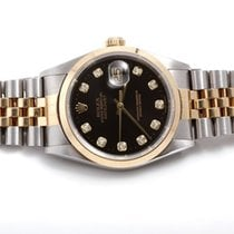 Rolex Mens 18k/SS Datejust w/ Black Diamond Dial 16203