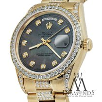 Rolex Yellow Gold Presidential Day Date 36mm Black Mop Dial...