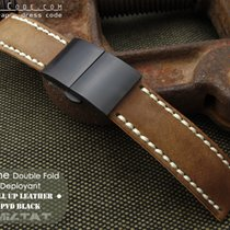 MiLTAT For Rolex 21mm Pull Up Leather Brown Watch Strap, PVD