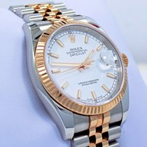 Rolex Datejust 116231 36mm Jubilee 18k Pink Gold Ss Date White...