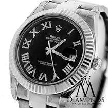 Rolex Mens Rolex Datejust Ii (2) Black Diamond Dial Gold Bezel...