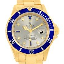 Rolex Submariner Yellow Gold Slate Diamond Sapphire Dial Watch...