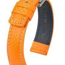 Hirsch Uhrenarmband Leder Carbon orange L 02592076-2-20 20mm