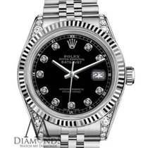 Rolex 26mm Datejust Black Dial W Diamond Accent Lady's...