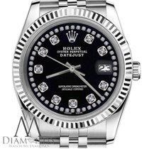 Rolex Mens Rolex 36mm 18k White & Stainless Datejust Black...