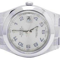 Rolex Mens Rolex Datejust II 41MM 116300 S.Steel Silver Arabic...