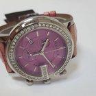 Gucci Pink Alligator Band Diamond G Bezel 101M Chronoscope Watch