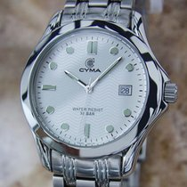 Cyma Swiss Made Mens 1990s Quartz Luxury Stainless Steel 30mm...
