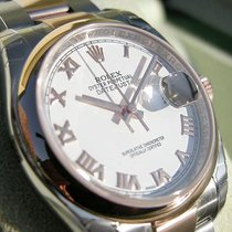 Rolex Datejust 116201 Mens Steel & Pink Gold Oyster White...