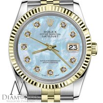 Rolex 36mm Datejust 18k/ss 2tone Baby Blue Mother Of Pearl...
