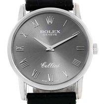 Rolex Cellini Classic 18k White Gold Slate Dial Mens Watch 5116