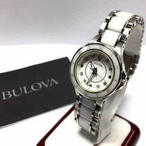 Bulova Ceramic & Stainless Steel Watch Factory Diamonds In...
