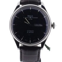Ball Trainmaster Eternity 39.5 mm Black Dial Crocodile Strap NEW