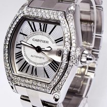 Cartier Mens Roadster Stainless Steel Automatic Watch Diamond...