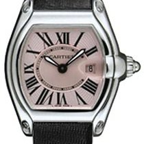 Cartier W62017V3-BLKSD Roadster Ladies in Steel - Steel on...