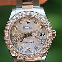 Rolex Midsize Datejust Rose Gold 31mm Diamond Bezel Jubilee...