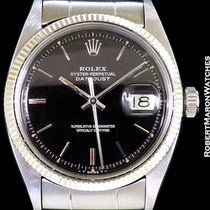Rolex 6605 Datejust Black Gilt Gloss Dial 18k White Gold/steel