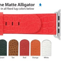 Apple Compatible 24mm Genuine Matte Alligator Regular Length...