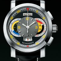 Paul Picot TECHNOGRAPH DISC 44MM Steel-Colored Dial Black...
