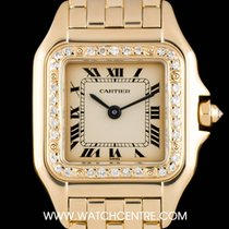 Cartier 18k Yellow Gold Cream Dial Diamond Bezel Panthere Ladies