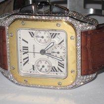 Cartier Santos 100 XL Chronograph 18K Gold Automatic Diamonds