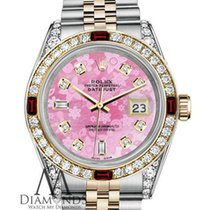 Rolex Womens Rolex Steel Gold 36mm Datejust Watch Pink Flower...