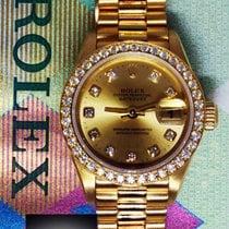 Rolex Datejust 18k Yellow Gold Factory Diamonds Ladies Watch...