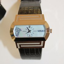 Versace Hyppodrome Mother of Pearl Dial Black Croc Strap NEW...
