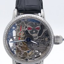 Krieger Gigantium Skeletion Manual Wind Diamond Bezel Ruby...