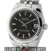 Rolex Datejust Stainless Steel 31mm 18k White Gold Bezel Black...