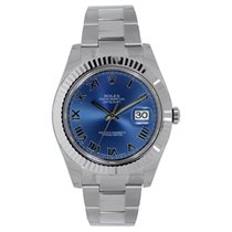 Rolex DATEJUST II 41mm 18K White Gold Bezel Blue Roman Dial