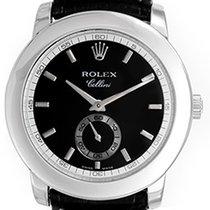 Rolex Cellini Cellinium Men's Platinum Watch with Black...