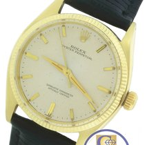 Rolex Perpetual 1005 Silver 34mm 14K Yellow Gold Leather Strap