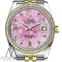 Rolex Womens Rolex 36mm Datejust 2 Tone Pink Flower Mop Mother...