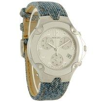 Movado S.E. Chrono Mens Blue Denim Stainless Steel Band Watch...
