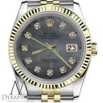 Rolex 18k Gold&ss Woman's Rolex 26mm Datejust Black...