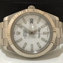 Rolex Datejust Il 41mm Bezel Ouro Branco White Dial Impecavel...