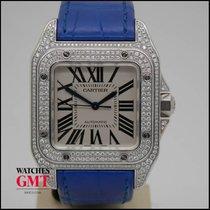 Cartier Santos 100 Medium White Gold Factory Diamond Set 2010