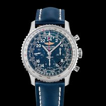 Breitling Navitimer Cosmonaute Blue Steel/Leather 43mm -...