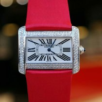 Cartier Tank Divan in Steel with After Market Diamond Case Watch